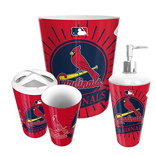 Louis Cardinals Wastebasket (St. Louis Cardinals MLB 4 Piece Bathroom Decorative Set (Ink Burst)