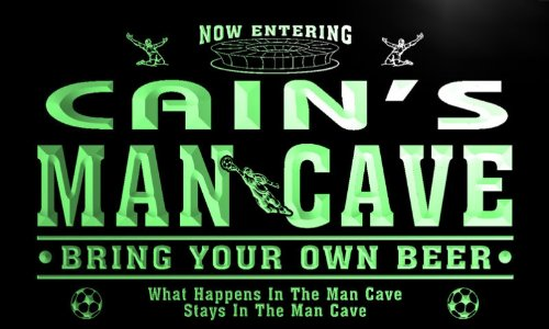 qd1486-g CAIN's Man Cave Soccer Football Bar Neon Beer Sign by AdvPro Name