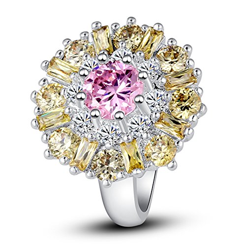 Pink Topaz Cluster - Psiroy 925 Sterling Silver Created Pink Topaz Filled Cluster Flower Statement Ring Size 10