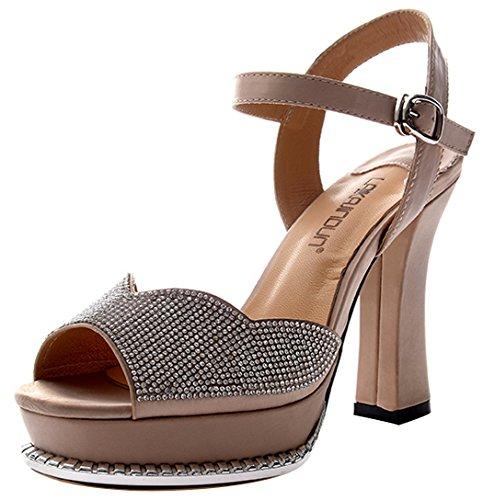 T&Mates Women's Fashion Drills Design Platform Sandals Pumps(7 B(W) US, khaki)