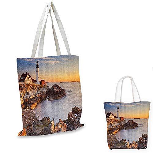 United States canvas messenger bag Cape Elizabeth Maine River Portland Lighthouse Sunrise USA Coast Scenery canvas beach bag Light Blue Tan. 16