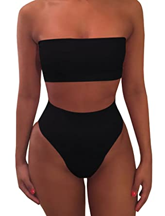 777a650f63 Amazon.com  chimikeey Womens Sexy High Waisted Strapless Bandeau Plain Two  Piece Bikini Swimsuits Bathing Suit  Clothing