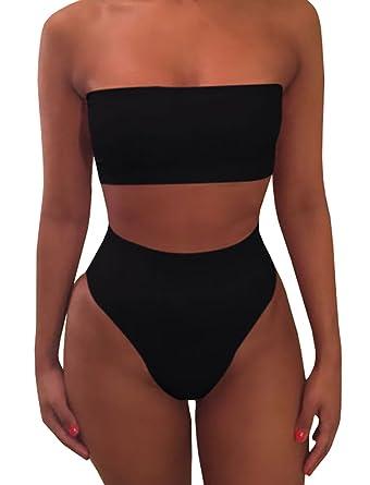 cc10faf1766eb Amazon.com: chimikeey Womens Sexy High Waisted Strapless Bandeau Plain Two  Piece Bikini Swimsuits Bathing Suit: Clothing