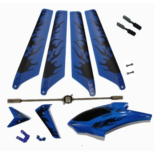 Blue Syma S107 S107G Replacement Parts Main Rotor Blades, Tail Decoration, Balance Bar, Tail Blades, Connect Buckle Head Cover Canopy Package Kit Helizone RC ()