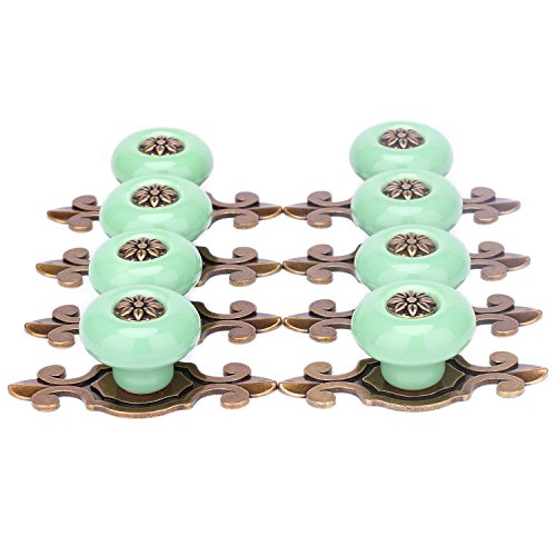 - SunKni 8 Pack Knobs for Dresser Drawers Ceramic Door Knobs for Cabinets Vintage Knobs for Desk Drawers Bathroom Cabinets Kitchen Cupboards Furniture Pulls and Knobs with Backplate Round (Bronze-Green)