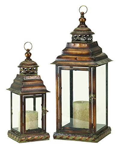 Deco 79 72281 Metal & Glass Lantern Set of 2