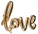 "Romantic Love Hand Written Script Balloon Banner Decoration, Great for Weddings, Bridal Showers, Anniversary, Vow Renewal & More!, Champagne Rose Gold, X-Large, 38"" Long"