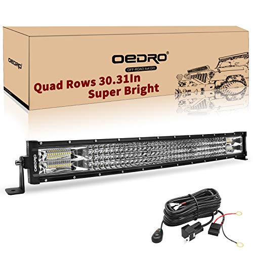 LED Light Bar Curved with Wiring Harness Quad-Row 32Inch 768W oEdRo Spot Flood Combo Led Lights Work Lights Fog Driving Light Off Road Light 12/24V Fit for Pickup Jeep SUV - Inch Light Wide Four 32