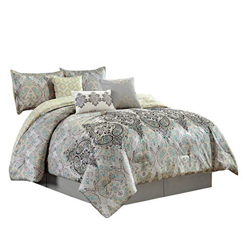 Oversized Comforter Ensemble - Chezmoi Collection Bombay 7-Piece Medallion Paisley Scroll Embroidered Comforter Set Queen Size