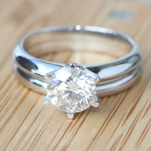 Wedding Bands For Less: GOWE 585 14K White Gold 1 Carat Ct No Less Than GH Plain