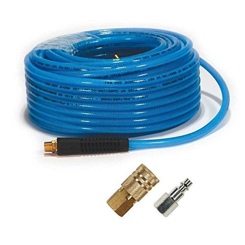 - Primefit PU141002C-B 1/4-Inch x 100-Feet Polyurethane Air Hose with Coupler/Plug (Max 200-PSI Pressure)