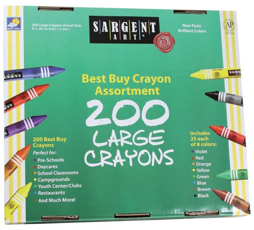 Crayon Assortment - Sargent Art 200-Count Large Crayon Class Pack, Best Buy Assortment, 55-3225