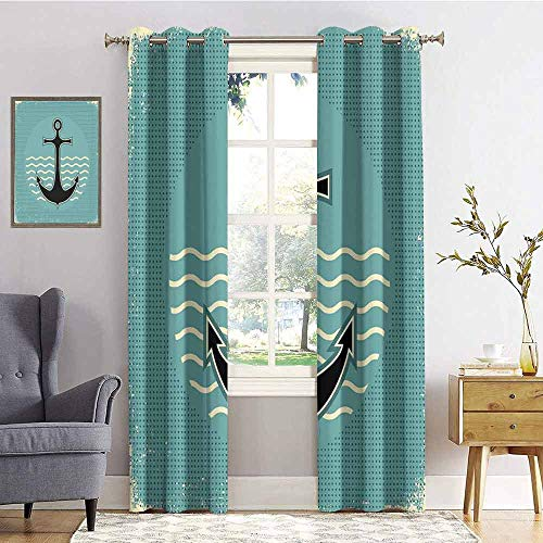 - Anchor 100% blackout lining curtain Vintage Style Anchor Design with Wave Water Color Antique Nostalgic Sea Sign Full shading treatment kitchen insulation curtain W84 x L96 Inch Teal Black Yellow