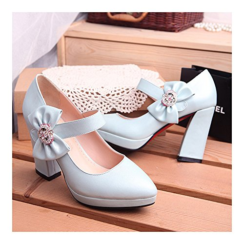 Bowknot Shoes High Platform Thick Thin Pointed Heel blue ctTWZaAF