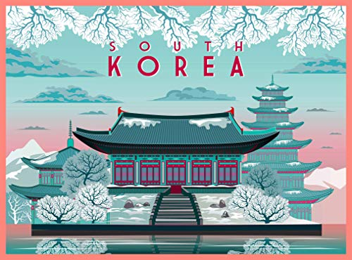 - South Korea in Winter Korean Asia Asian Retro Travel Home Collectible Wall Decor Advertisement Art Deco Poster Print. 10 x 13.5 inches