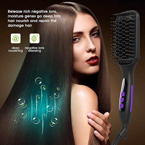 Ionic Hair Straightener Brush, GLAMFIELDS Electrical Heated Irons Hair Straightening with Faster Heating, MCH Ceramic Technology, Auto Temperature Lock, Anti Scald, Heat Resistant Glove by GLAMFIELDS (Image #1)