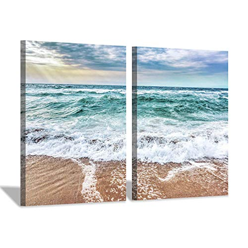 - Hardy Gallery Beach & Seashore Wall Art Print: Coastal Blues Artwork Painting on Canvas Decor Picture for Bed Room (24'' x 18'' x 2 pcs)