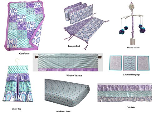Bacati Isabella Paisley Girls 10 Piece Nursery-in-A-Bag Crib Bedding Set with Bumper Pad, Lilac/Purple/Aqua