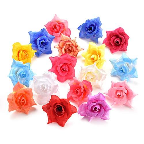 Artificial Flower Peony Flower Head DIY Fake Flower Handmade Silk Flower Baby Girl Hairclip Bridal Corsage Accessories Crafts 40pcs 5cm (Multicolor)