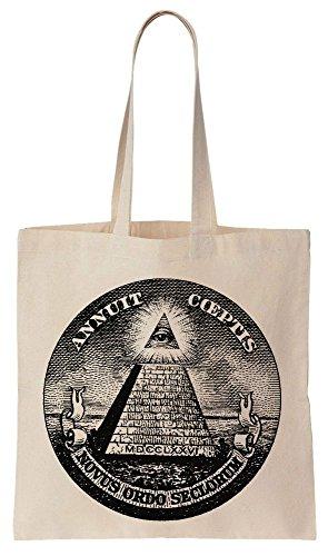 ILLUMINATI Dollar Symbol Pyramid Sacchetto di cotone tela di canapa