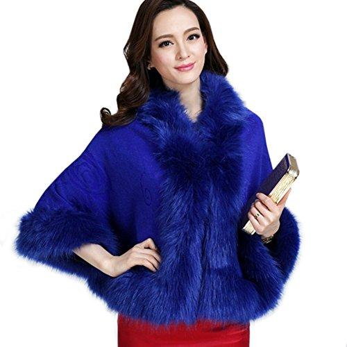 Artfasion Ladies/Womens Luxury Bridal Faux Fur Shawl Wraps Cloak Coat Sweater ()