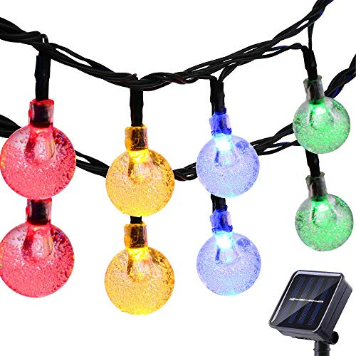 - FlyCloud Solar String Lights Outdoor, 50 LED Waterproof LED Outdoor Solar Lights Crystal Ball Decorative Lights 24Ft Indoor Outdoor Fairy Lights for Garden, Patio, Yard, Christmas (Multi-Colored)