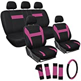 OxGord 17pc Set Flat Cloth Mesh Original Seat Cover Set- Airbag - Front Low Back Bucket Seats - Universal Fit for Car, Truck, SUV, Van - Steering Wheel Cover (Pink/ Black)