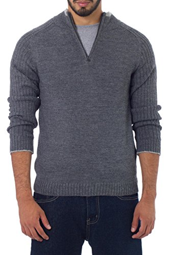 NOVICA Grey Knitted Alpaca Wool Blend Pullover Sweater, 'Gray Fog Secret'