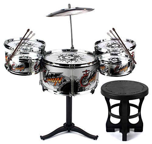 deluxe-jazz-drummer-childrens-kid-toy-musical-instrument-drum-playset-w-5-drums-cymbal-chair-drumsti