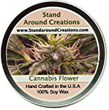 Premium 100% All Natural Soy Wax Aromatherapy Candle - 8oz Tin - Cannabis Flower: A warm blend of cashmere wood surrounds the floralcy, while sensual undertones of musk and golden amber soften the scent.