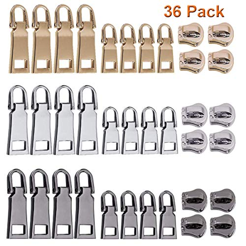 Y-Axis Zipper Pull Tabs Detachable Zip Fixer Replacements for Clothes Luggage Accessories Leather Special, 2 Sizes, 3 Colors, Pack of 36 - Gold Pull Zipper
