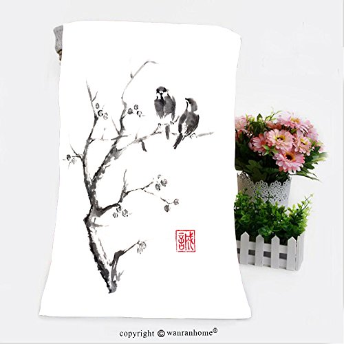 Tow Hook Cut Outs (VROSELV Cotton Microfiber Bathroom Bath Towel-tow birds on a tree japanese style original sumi e ink painting hieroglyph featured means Custom pattern of household products(31.5