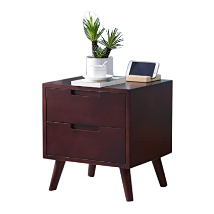 Amazon.com: Bedroom solid wood bedside table living room ...