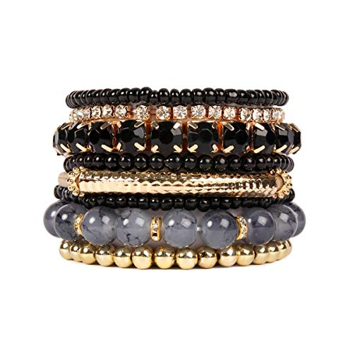 (RIAH FASHION Multi Color Stretch Beaded Stackable Bracelets - Layering Bead Strand Statement Bangles ([S-M] Black))