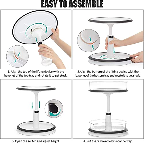 2-Tier Lazy Susan Turntable,Multifunctional Rotating Snack Tray Height Adjustable Organizer Rack Container for Cabinet, Pantry, Fridge, Countertop, Kitchen