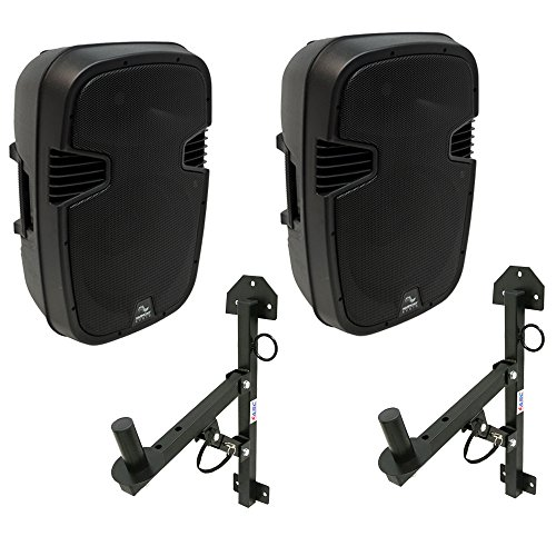 (2) Harmony Audio HA-L12BA DJ Bluetooth 12' 1000W Powered PA Speaker & Mounts