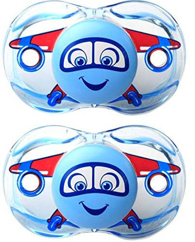 Airplane Pacifier - Razbaby Keep-It-Kleen Pacifier - Adam Airplane - 2 Count , 0-36 Months