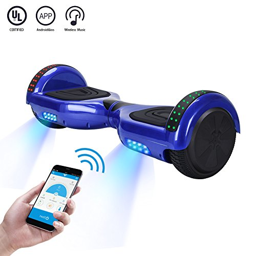 (CXM2018 App Enabled Self Balancing Hoverboard with Bluetooth Speaker and LED Light,Two Wheel Smart Electric Scooter,Available on iPhone & Android for Kids and Adults (Blue))