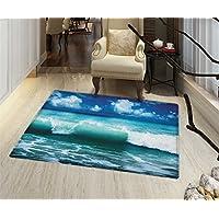Ocean Rugs for Bedroom Caribbean Island Coast Seascape Waves Water Splash Surfing Sports Theme Door Mat Increase 24x48 Aqua Navy Blue White