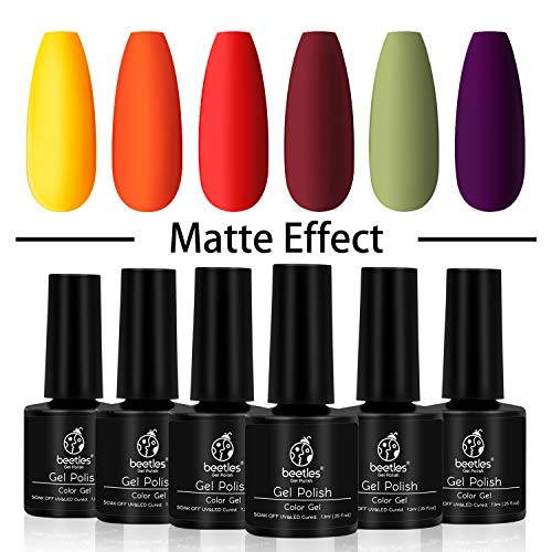Beetles Gel Nail Polish Set- 6 Colors Yellow Orange Gel Nail Polish Kit Autumn Fall Winter Soak Off UV Nail Lamp LED Cured, 7.3ml Each Bottle for Nail Art
