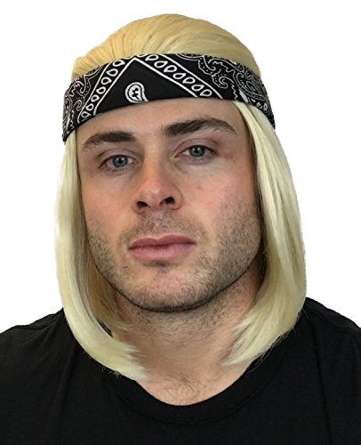 2 pc. Premium 90s Blonde Rocker Wig + Black Bandana: 90's Rockstar Wig Costumes for Men Women Kids Adults Kurt Cobain Wig Men's Wigs Kid's Rocker Costumes Rock Star Wigs Blond Short Rocker Wigs