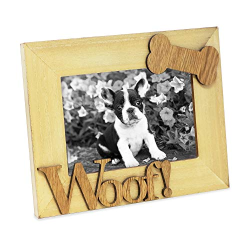 Isaac Jacobs Wood Sentiments Picture Frame, 4x6 inch (Dog Woof 4x6 inch, -