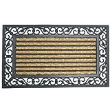 """Rubber-Cal 10-102-515""""Casablanca"""" Outdoor Coco Coir Doormat - 18"""" x 30"""" Inches - Decorative Rubber Doormat"""