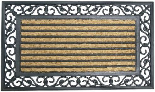 18 x 30-Inch Rubber-Cal Casablanca Outdoor Coco Coir Decorative Rubber Doormat