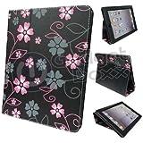 Funda para Apple iPad 2/3 y 4 - Con Soporte - de Cuero PU - Gadget Boxx Color Negro con Diseño Floral Rosa y Gris
