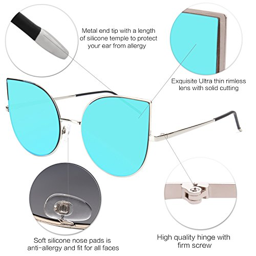 416c2e9657e SOJOS Cat Eye Mirrored Flat Lenses Ultra Thin Light Metal - Import It All