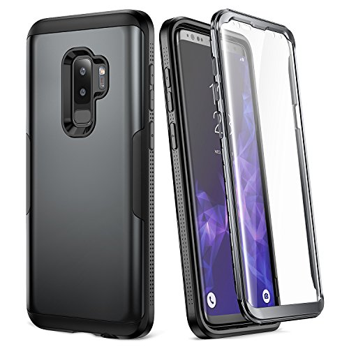 Galaxy S9+ Plus Case, YOUMAKER Metallic Black with Built-in Screen Protector Heavy Duty Protection Shockproof Slim Fit Full Body Case Cover for Samsung Galaxy S9 Plus 6.2 inch (2018) - Black/Black