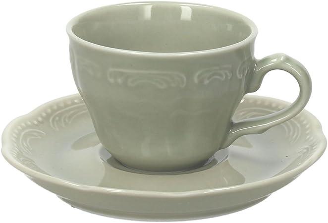 Verde Porcellana Tognana Charme Confezione 6 Tazze da caff/è con Piattini