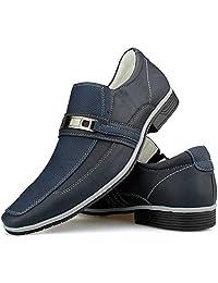 Sapato Social Bico Fino Masculino Azul Preto Solado Macio Evento Formal