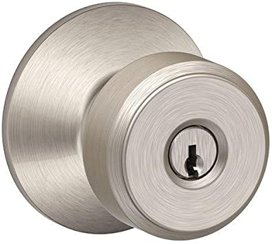 Schlage F51A BWE 626 GSN Bowery Keyed Entry Panic Proof Door Knob Satin Chrome